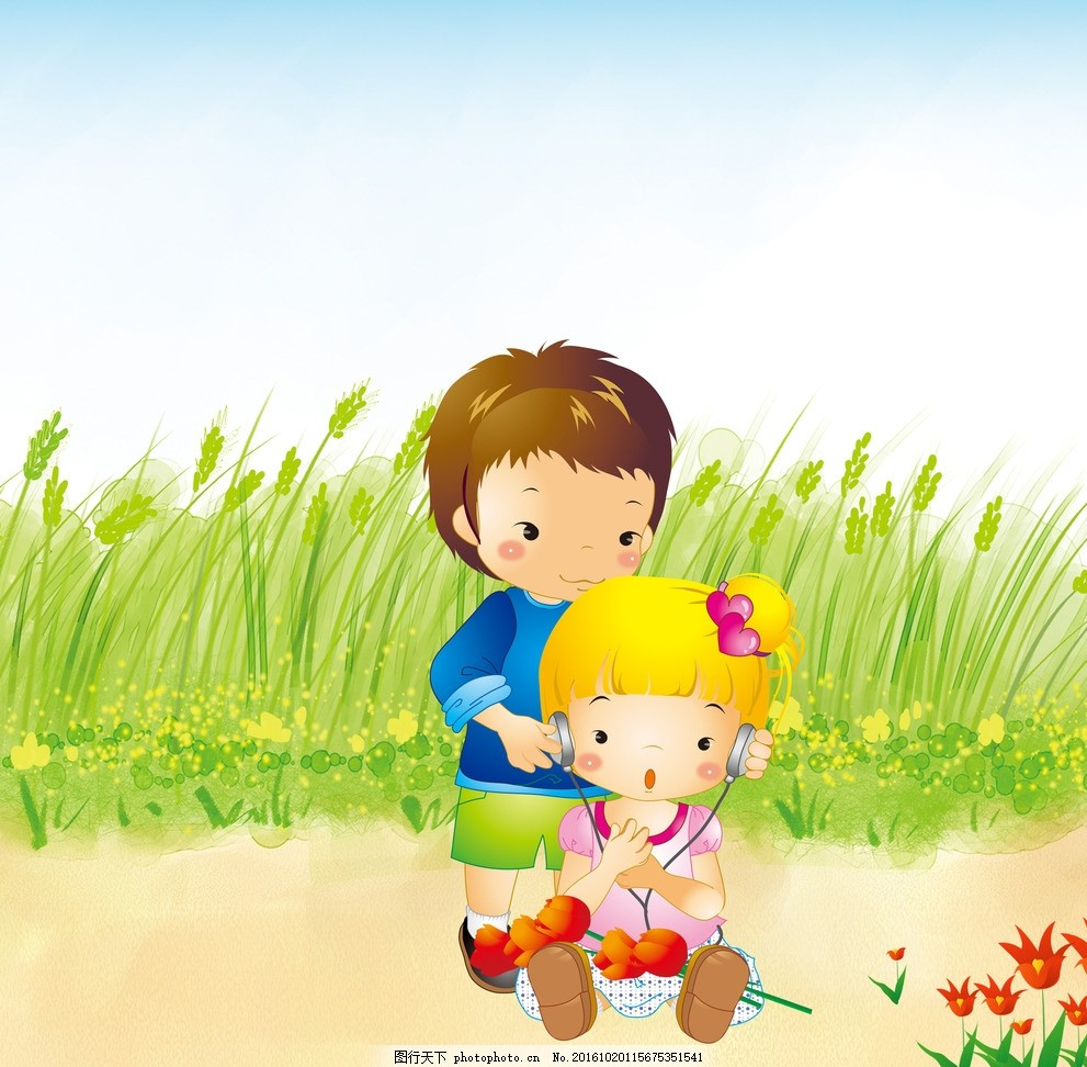 小伙伴 卡通 小女孩 小男孩 花朵 动漫动画 动漫人物