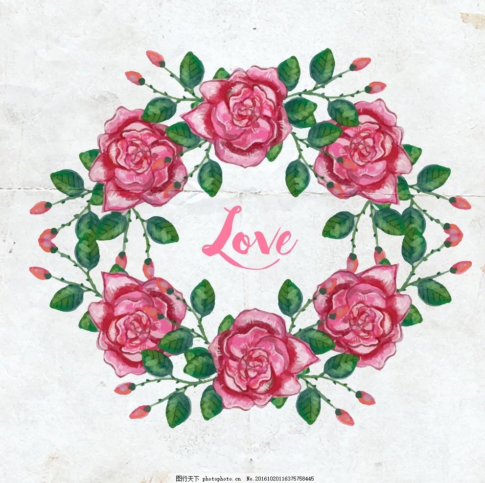 水彩玫瑰花环