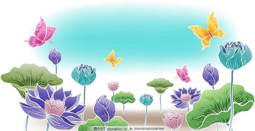 花卉手绘 线条 背景 壁纸 星星 蝴蝶 底纹 边框