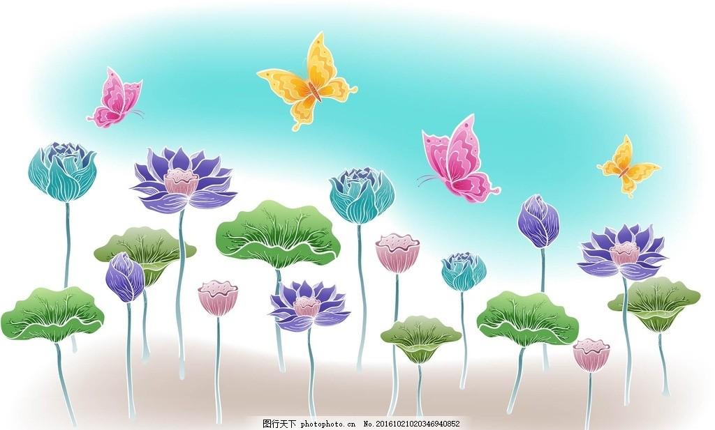 手绘花朵 线条 背景 壁纸 星星 蝴蝶 底纹 边框