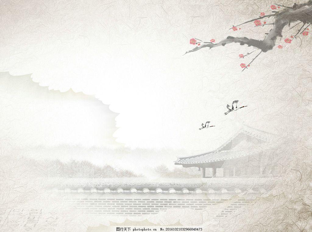 中國風梅花樓宇筆墨風景背景