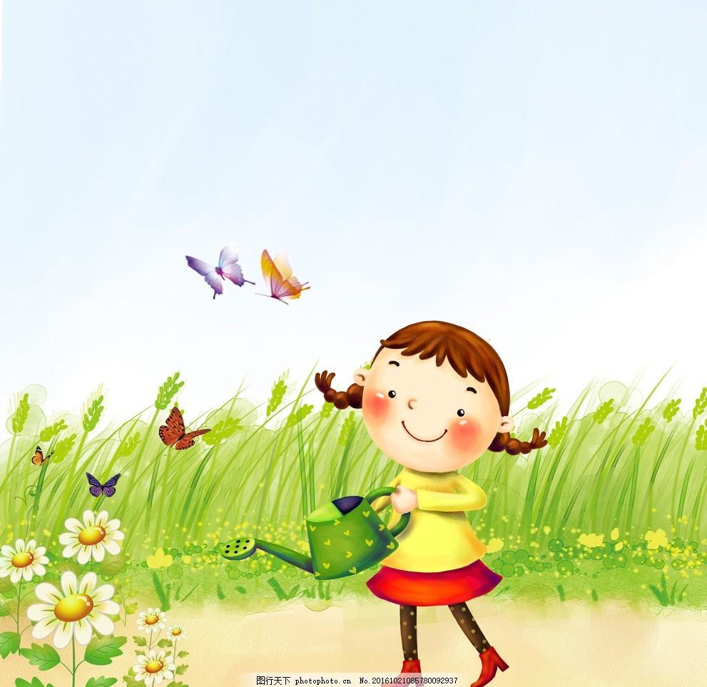 浇花 蝴蝶 卡通 花朵 小女生 动漫动画 动漫人物
