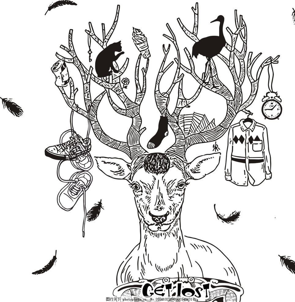 欧式浪漫手绘森系麋鹿