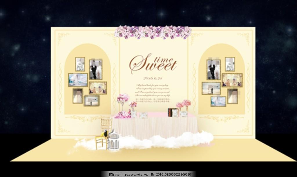 香槟色婚礼效果图 效果图下载 照片展示 甜品 背景 黑色 迎宾区