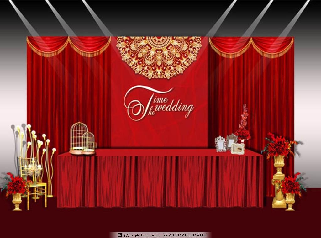 红色婚礼签到区 欧式 花纹 流苏 布幔 鸟笼 罗马柱 花艺 展示区效果图