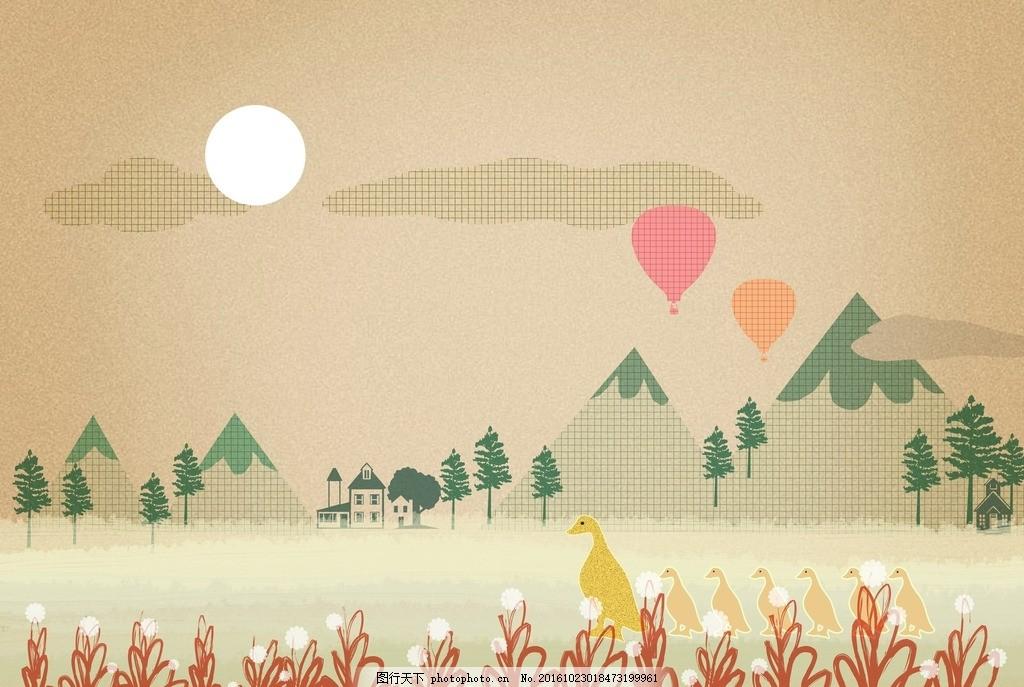 设计素材 卡通背景 梦幻背景 儿童卡通 可爱人物 温馨家庭 浪漫爱情