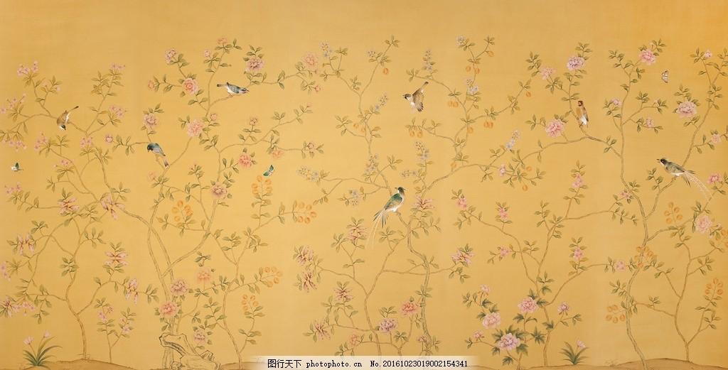手绘花鸟 国画 墙纸 装饰画 中国风 屏风 手绘丝绸墙纸 平面设计素材