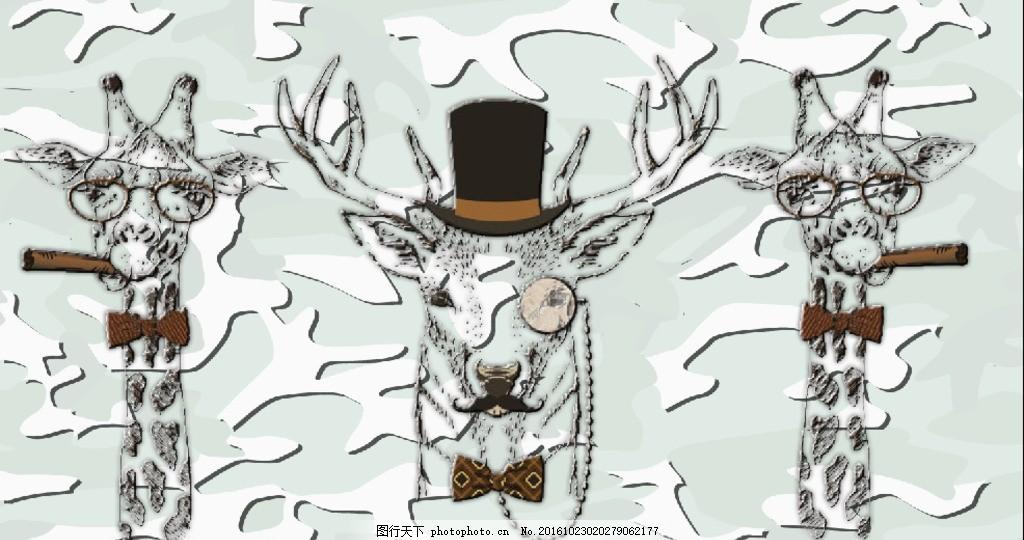 鹿头艺术 手绘 线条 抽象 花纹 图案 背景 底纹 卡通系列