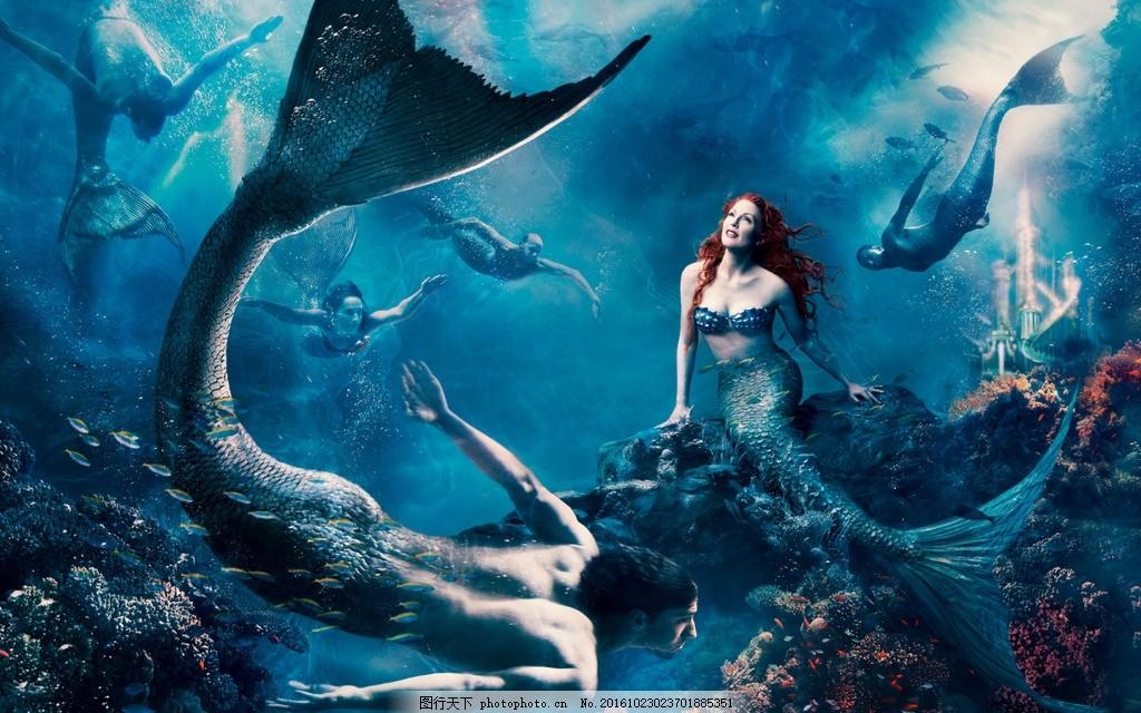 创意婚礼写真 梦幻插画 个性创意壁画 创意高档背景 拍照背景 美人鱼图片