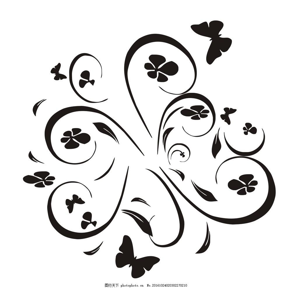 蝶恋花 蝴蝶 花朵 简笔画 墙艺 中国风 广告设计 花纹 雕刻