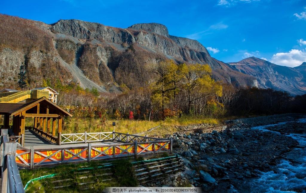 长白山风景区 长白山 吉林省 树林 公路 蓝天 山峦 亭子 水 摄影 旅游