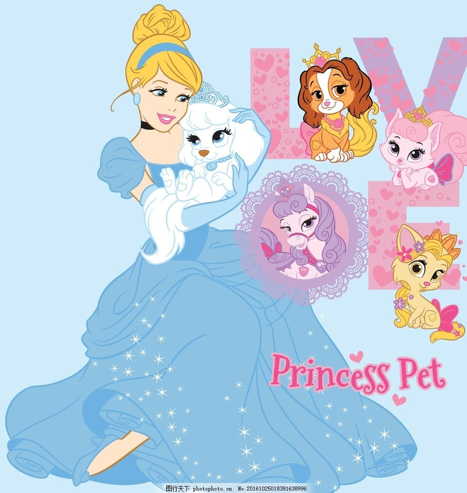 灰姑娘 矢量 卡通 公主 动物 狗 花纹 蕾丝 心 王冠 皇冠