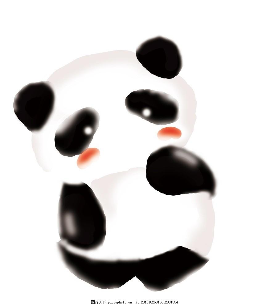 手绘熊猫 熊猫 手绘 晕染 涂鸦 黑白 涂鸦 设计 动漫动画 其他 300dpi