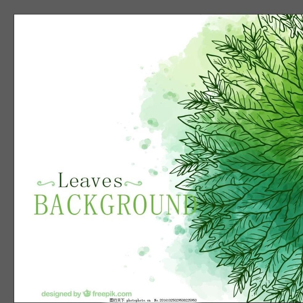 清新背景 小清新 简单背景 简洁背景 水彩树叶 手绘树叶 水彩素材
