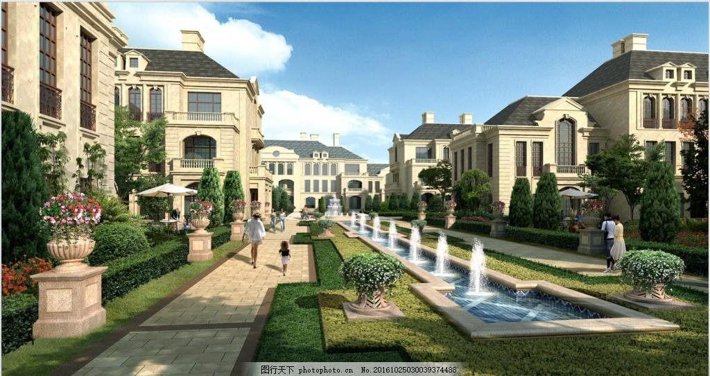 园林 效果图 分层 花坛 欧式 别墅 喷泉 品质 绿化 景观 法式
