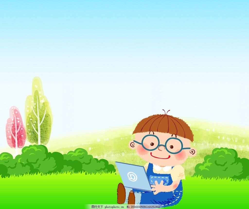 小男孩 卡通 玩电脑 可爱 眼镜 草地 设计 动漫动画 动漫人物 300dpi
