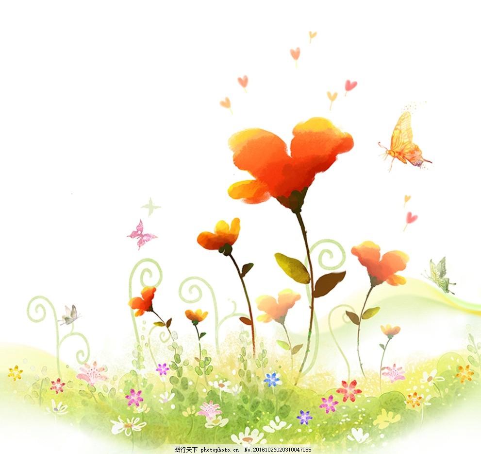手绘花 复古 蝴蝶 邮戳 手绘玫瑰 手绘玫瑰花 玫瑰 玫瑰花 红玫瑰