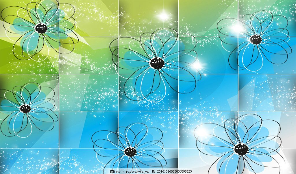 3D方块蓝色花图片(分层)