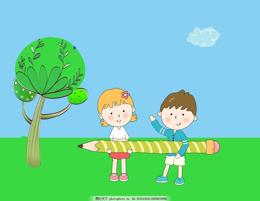 小朋友 可爱 卡通 小男孩 小女孩 草地 大树 动漫动画 动漫人物图片