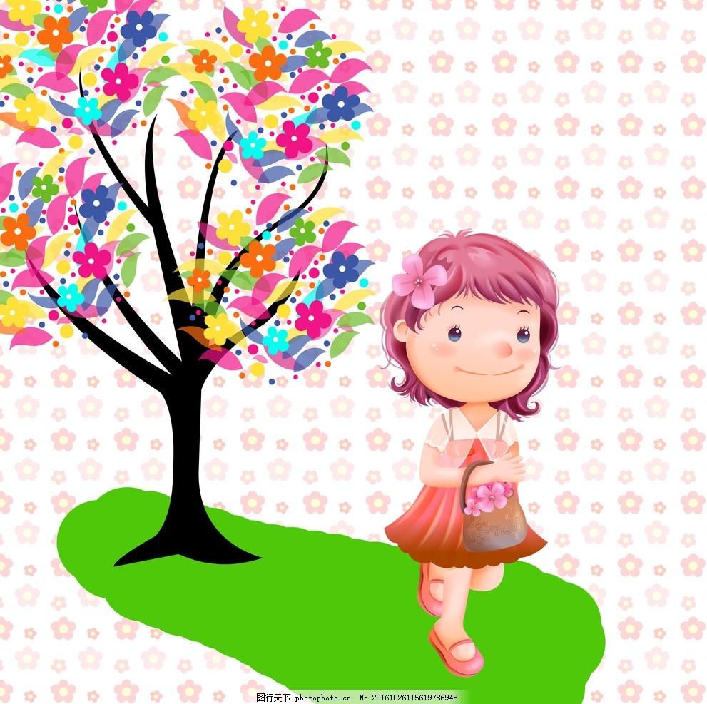 小女孩 卡通 可爱 草地 大树 漂亮 动漫动画 动漫人物