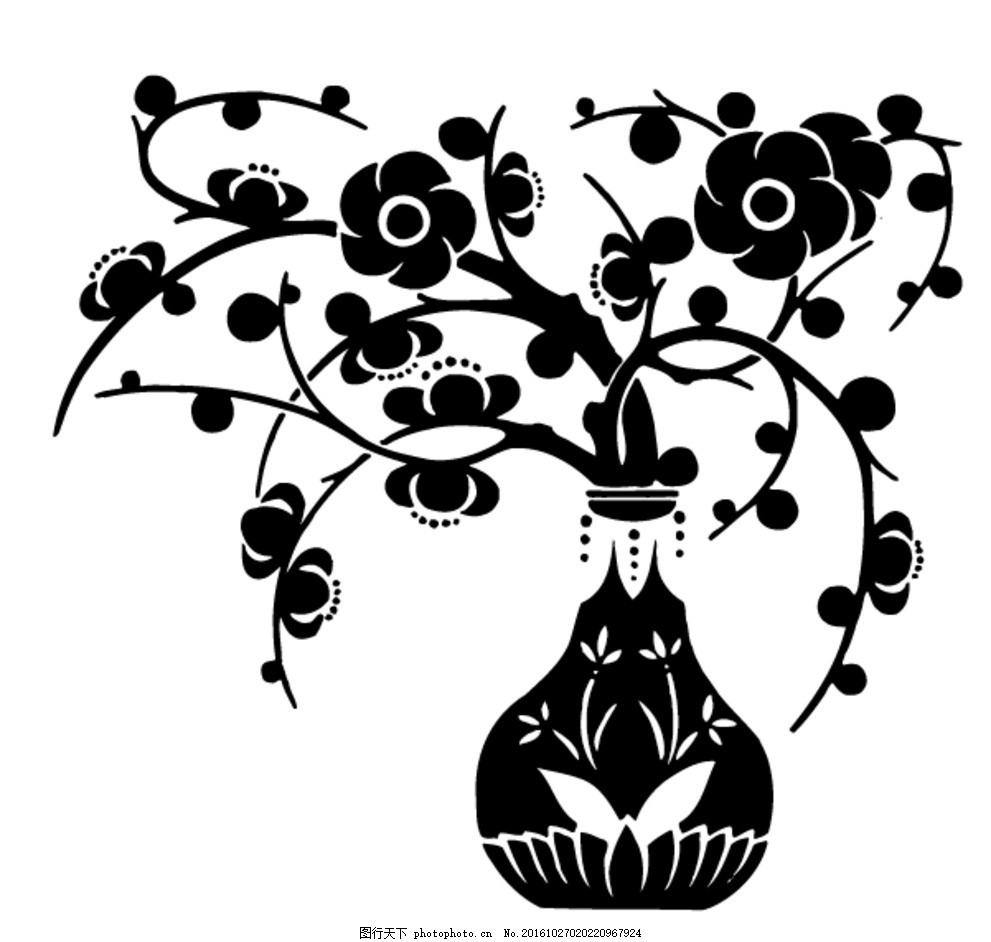 矢量黑白梅花花瓶剪影