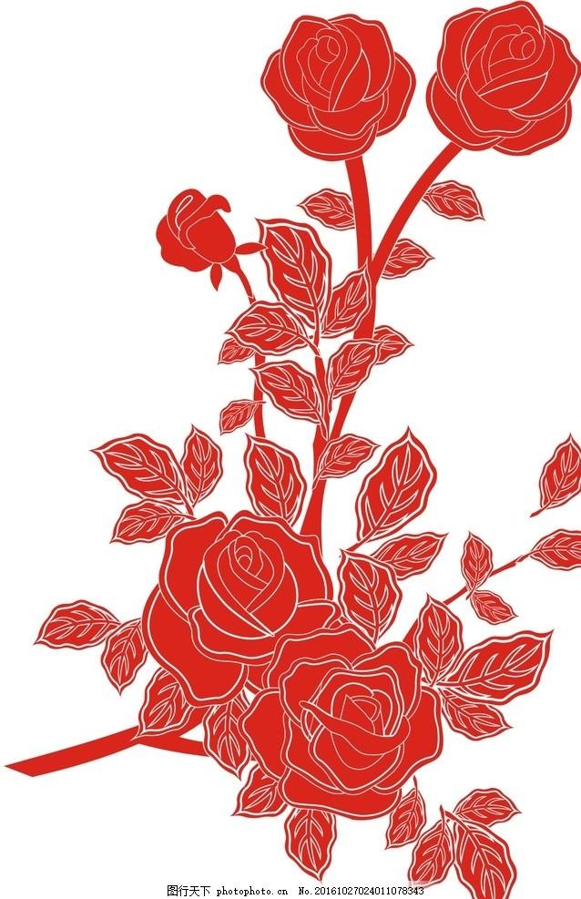 花卉 玫瑰花 月季花 牡丹花 矢量 花 花朵 图案 设计 自然景观 自然风