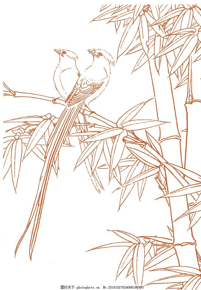 绶带鸟竹子简笔画 绶带鸟矢量 竹子矢量 底纹边框 报纹 绶带鸟线稿