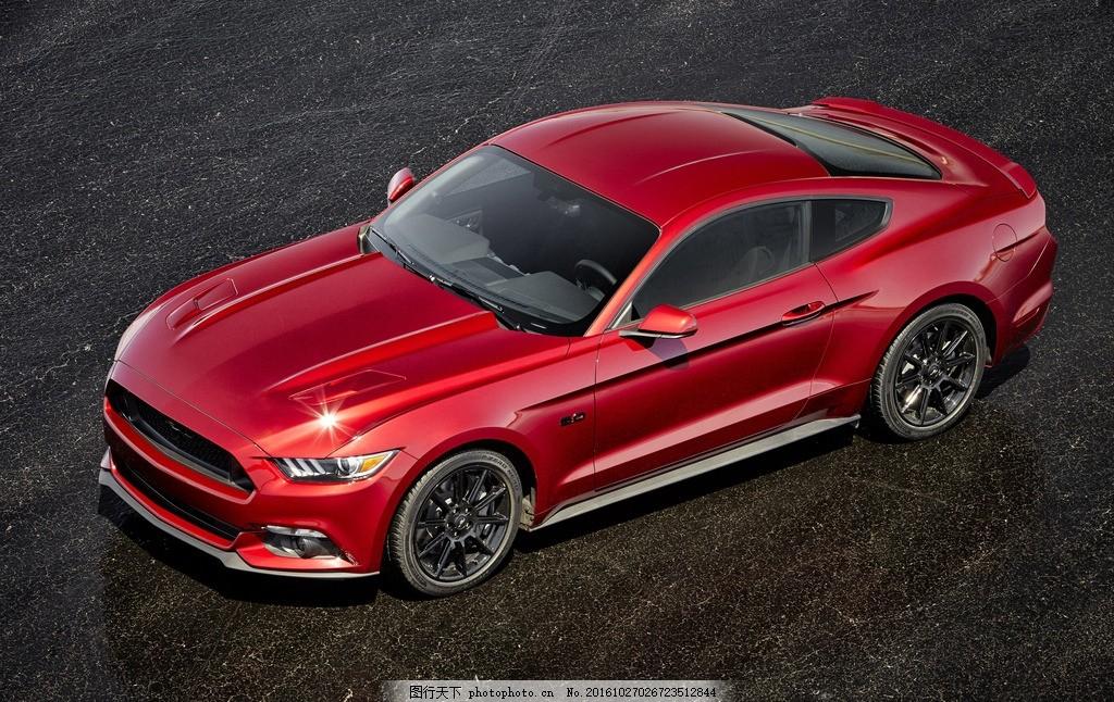 福特野马汽车 跑车 红色 摄影
