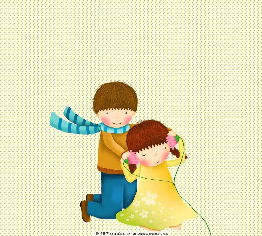 小伙伴 可爱 卡通 耳麦 围脖 小女孩 小男孩 设计 动漫动画 动漫人物