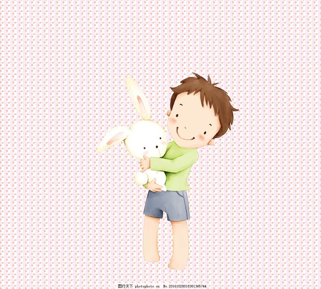 小男孩 卡通 玩具 小兔子 可爱 简约 设计 动漫动画 动漫人物 300dpi