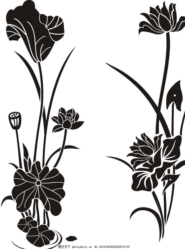 花花 荷花 荷叶 莲花 矢量 花卉 花朵 移门图案 底纹 边框