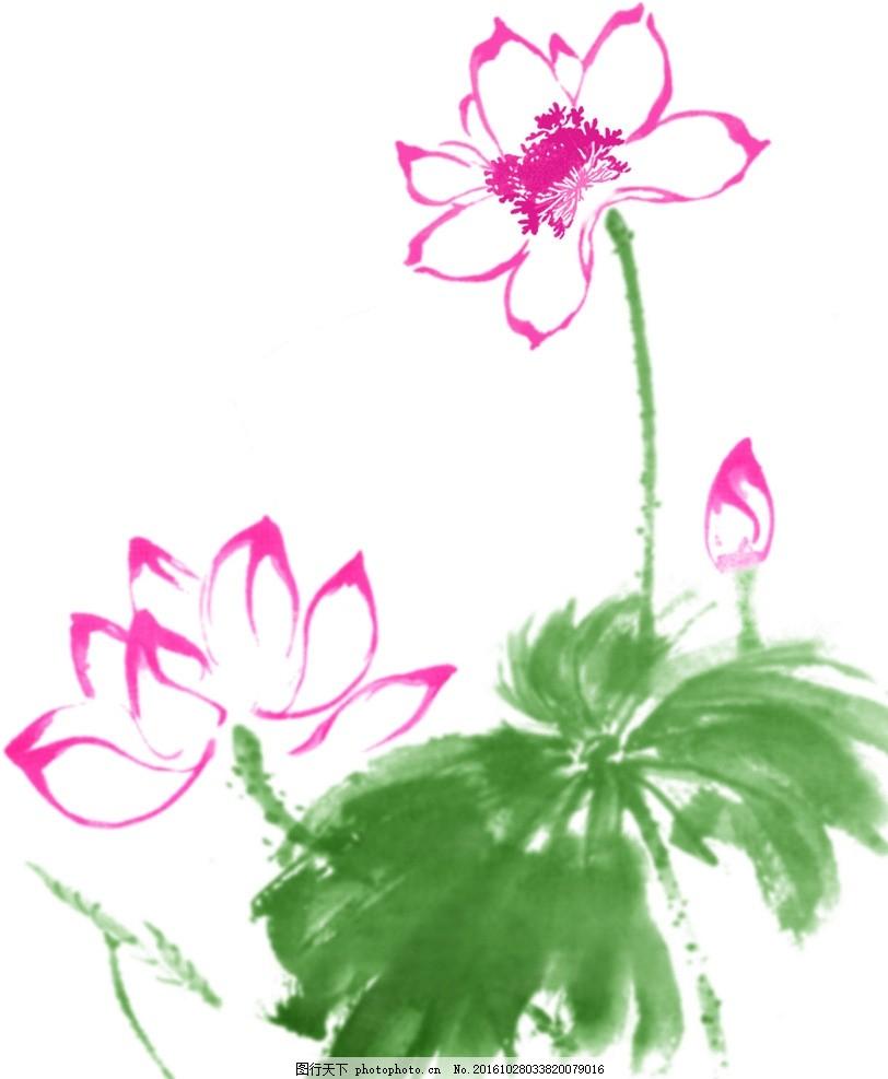 写意荷花 红花 荷叶 花蕾 图片素材