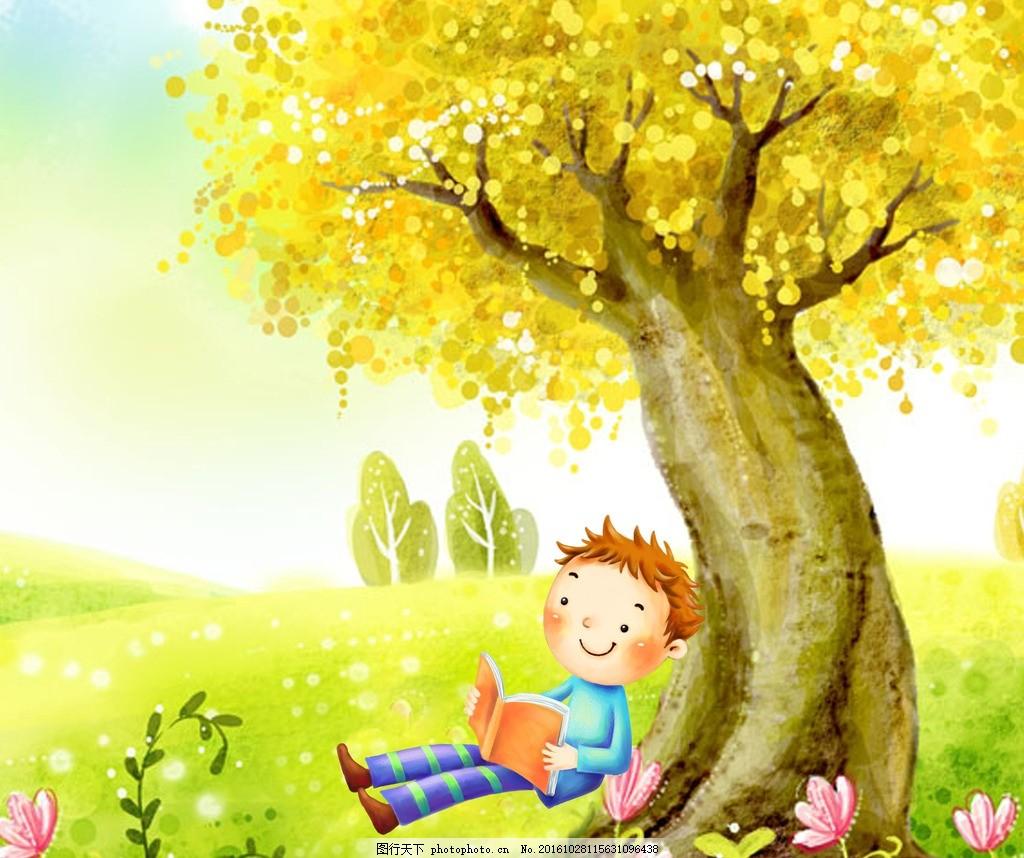看书 草地 大树 花朵 可爱 小男孩 卡通 设计 动漫动画 动漫人物 300