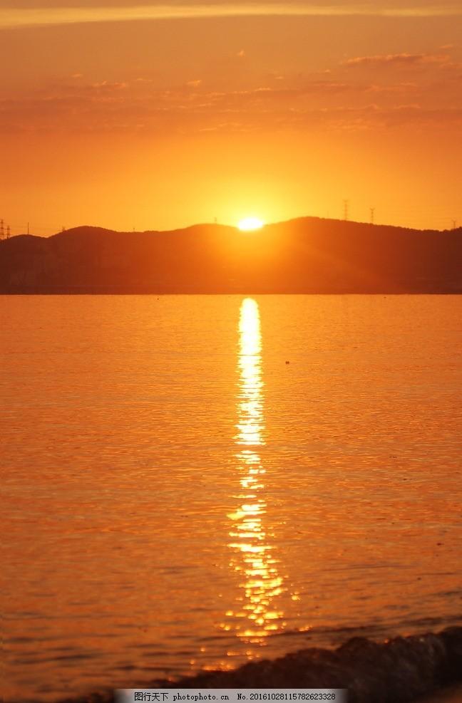 清晨海港 海边 日出 海上日出 港口 远山 摄影 自然景观 自然风景 300