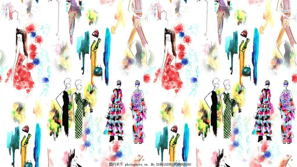 水彩人物 手绘 水彩画 人物 时尚人物 面料花 设计 文化艺术 绘画书法
