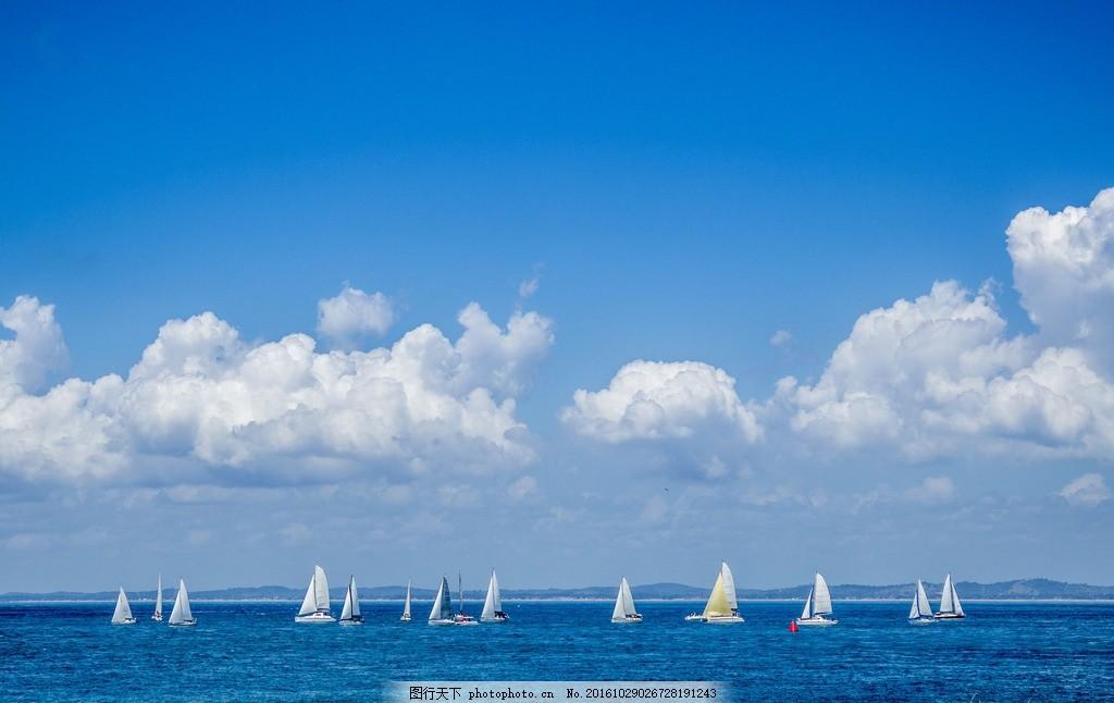 帆船 蓝天白云 碧海蓝天 海洋 海水 大海 扬帆起航 蓝天背景