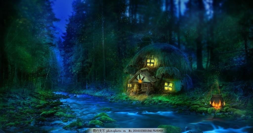 树 月光 森林 森林小屋 小屋 野餐 营地 动漫 设计 动漫动画 风景漫画