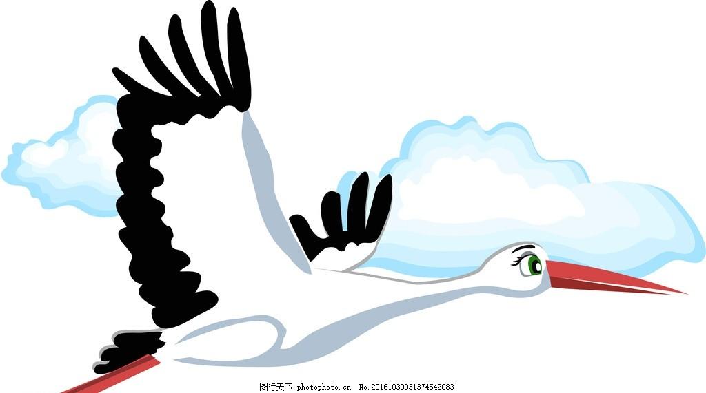仙鹤 动物 卡通 宝宝 生物 鸟 可爱 动漫动画 动漫人物
