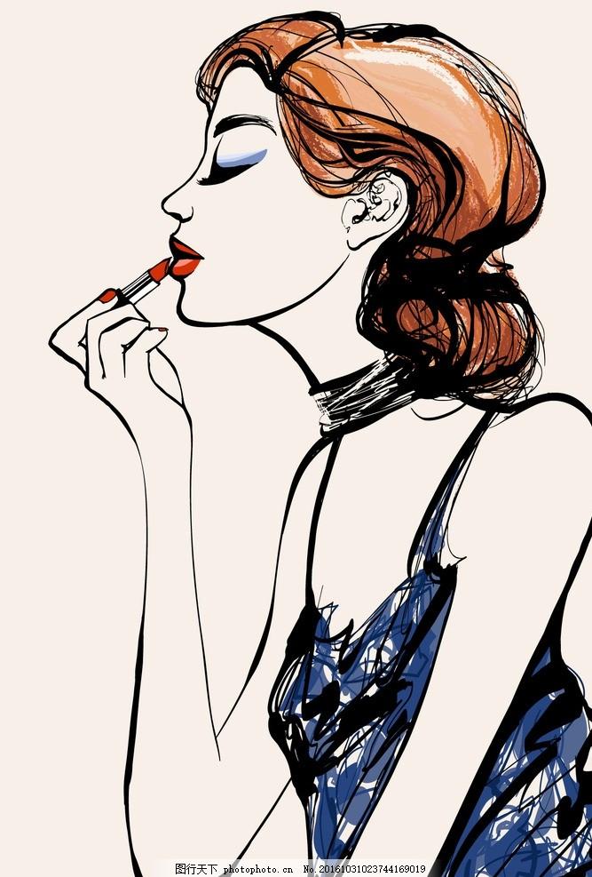 时尚 女人图片矢量 口红 女人侧脸图片 时尚女人图片 性感女人 手绘