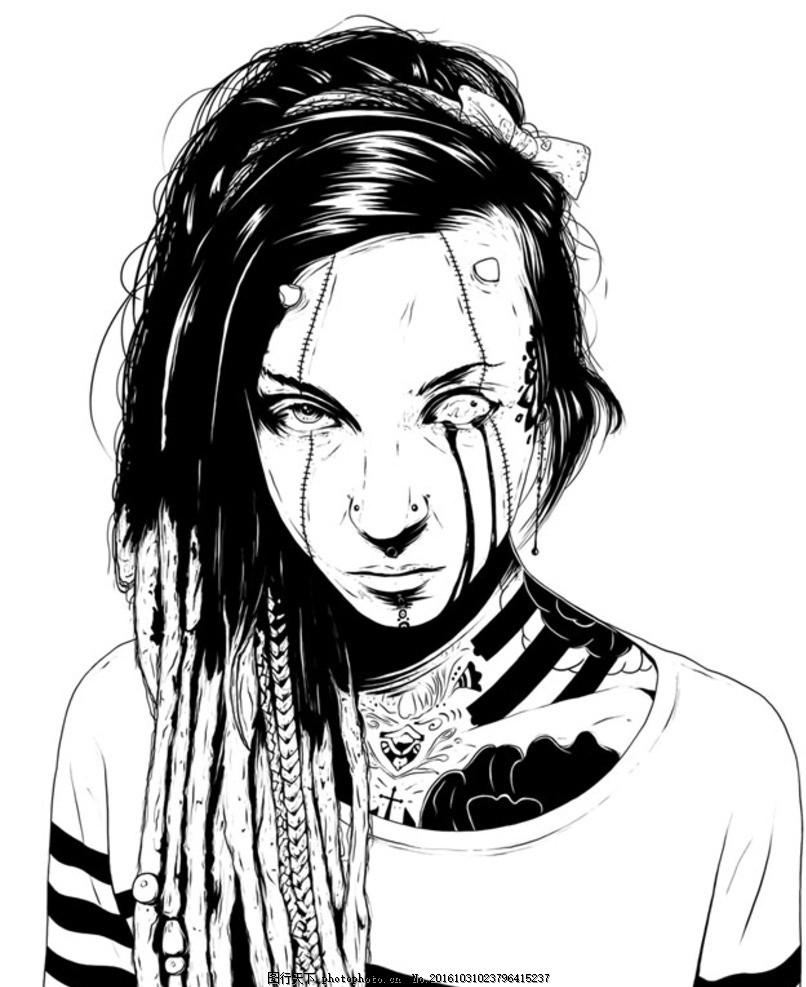 插画 设计 恐怖插画 女人 黑白简图 简笔插画 插画-设计 设计 人物