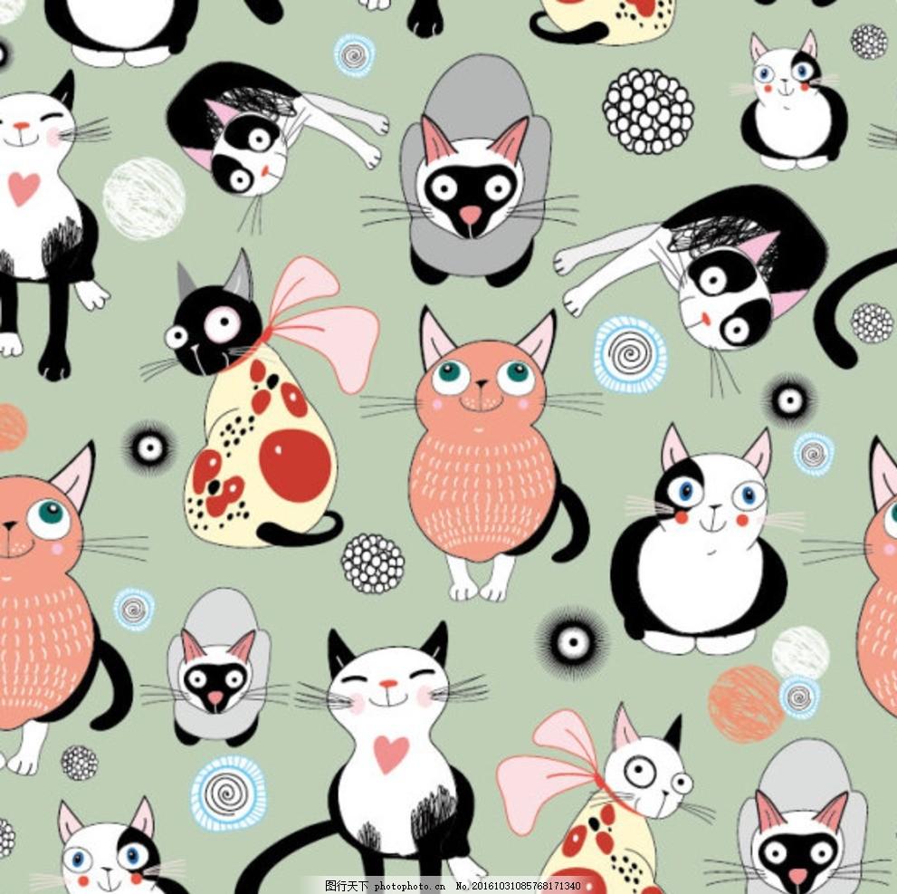 手绘可爱猫咪 小猫插画