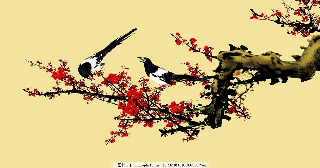 梅花国画 写意 红梅 写意国画 喜鹊 喜上眉梢 艺术绘画