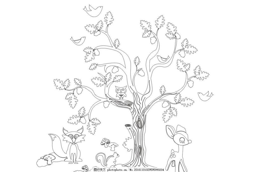硅藻泥花纹 大树 狐狸 小鹿 硅藻泥矢量图 狐狸 猫头鹰 小鹿 松鼠