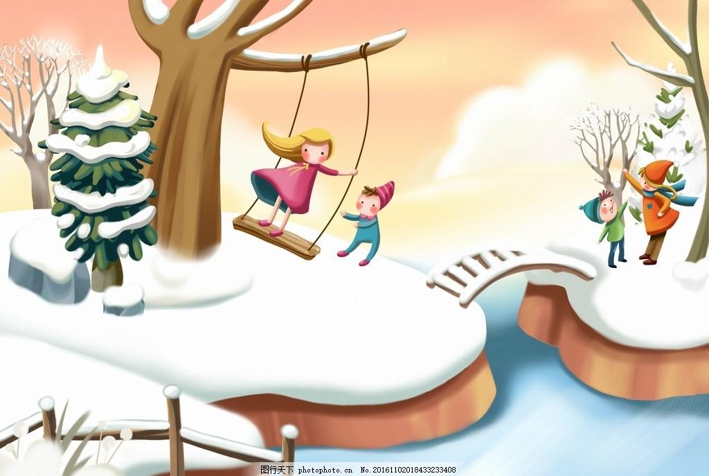 卡通冬季雪景素材 设计素材 卡通背景 梦幻背景 儿童卡通 可爱人物