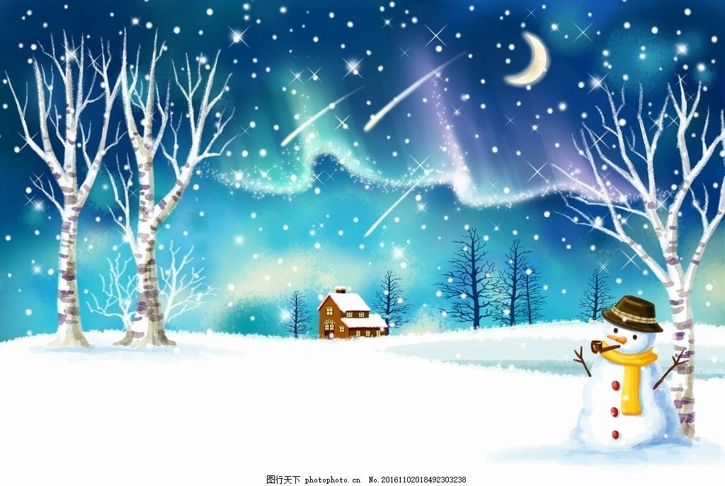 童话卡通雪景雪人素材
