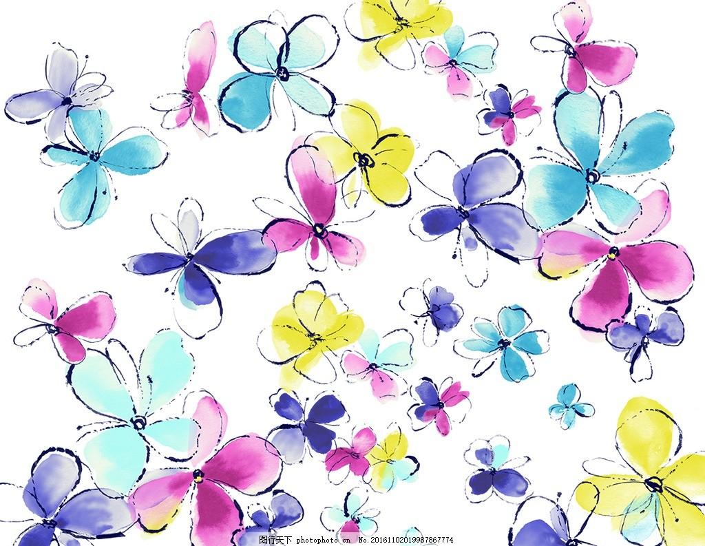 手绘花朵素材 梦幻 彩色 水彩 印花 图案 无缝拼接 底纹边框