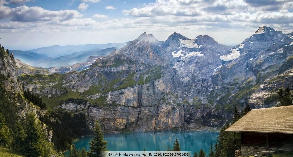 湖畔山峦 湖畔 山峦 小屋 木屋 天空 蓝天 风景 摄影 自然景观 山水