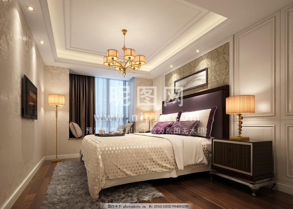 卧室,欧式 家装 内饰 别墅 套房 样板房 酒店套房-图