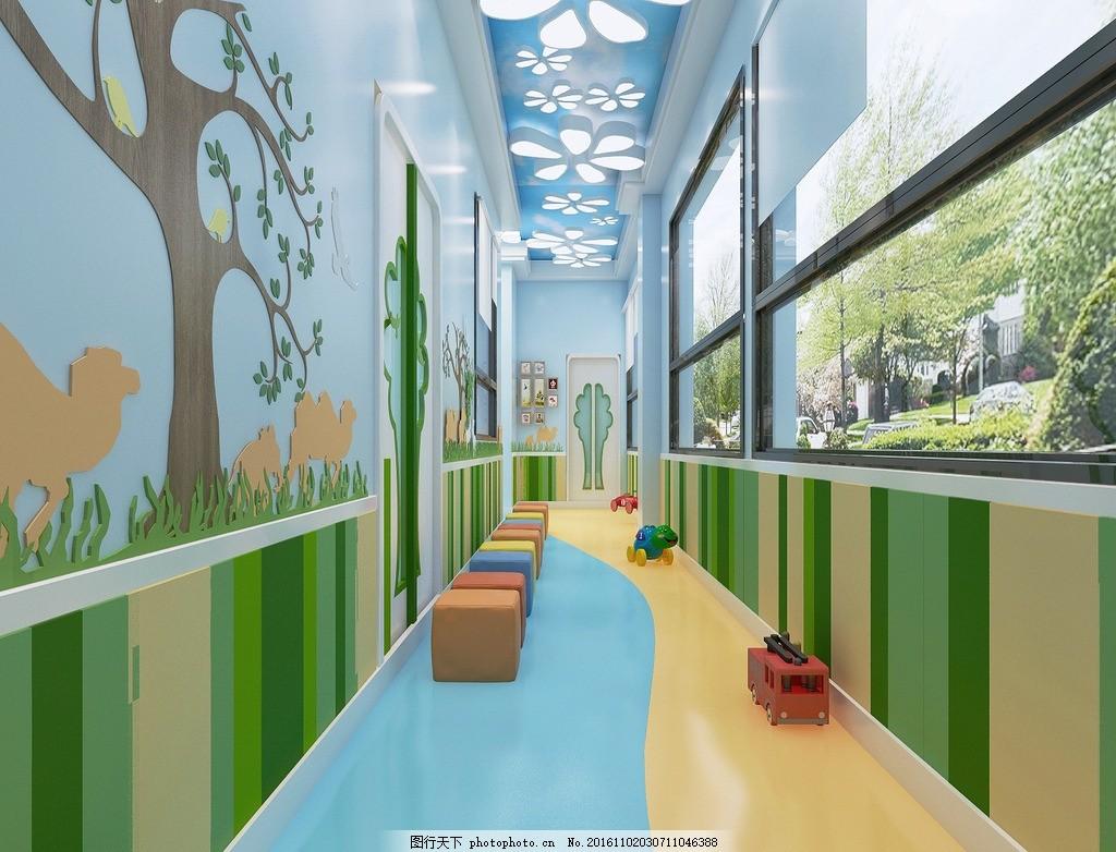 幼儿园效果图走廊 幼儿园        漂亮 优秀 色彩 效果 走廊 风景