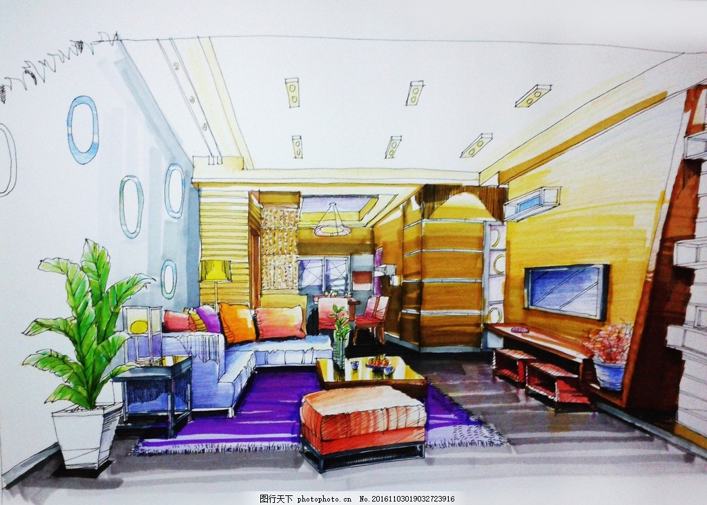 室内手绘 沙发 盆栽 客厅 电视背景墙